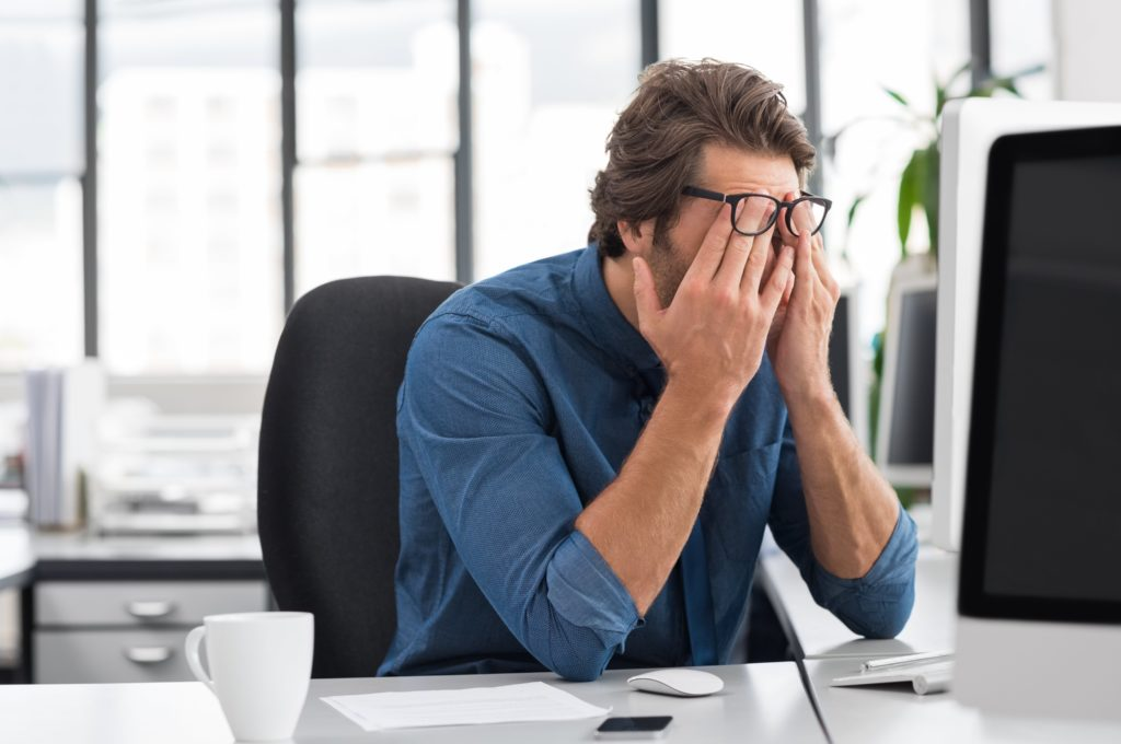 Symptoms of computer vision syndrome include: eye fatigue and discomfort, dry eyes, headaches, blurred vision, neck and shoulder pain, eye twitching and red eyes.
