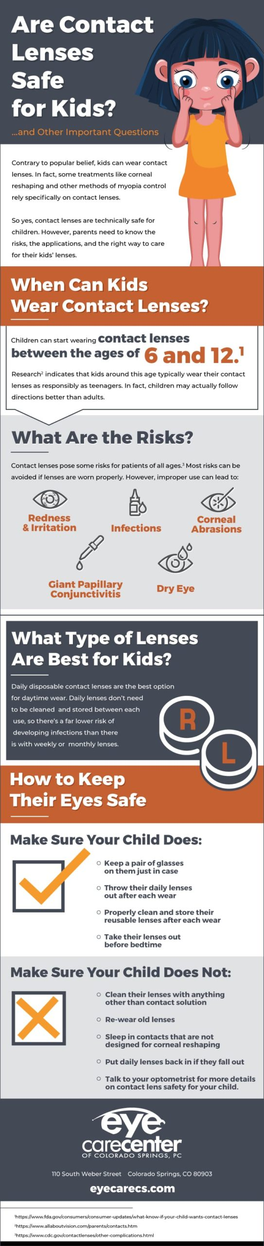 Infographic answering common questions about contact lenses for children